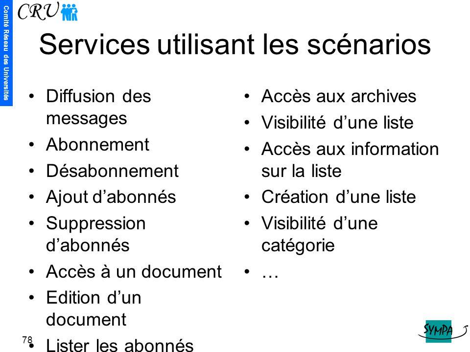 Comité Réseau des Universités 78 Services utilisant les scénarios Diffusion des messages Abonnement Désabonnement Ajout d'abonnés Suppression d'abonné