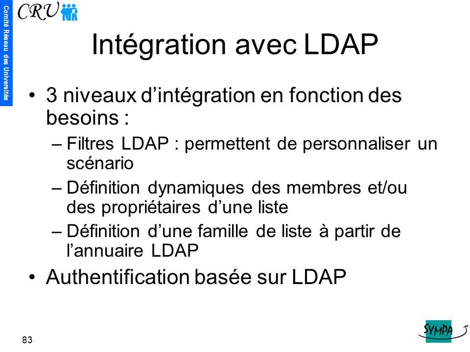 Comité Réseau des Universités 83 Intégration avec LDAP 3 niveaux d'intégration en fonction des besoins : –Filtres LDAP : permettent de personnaliser u