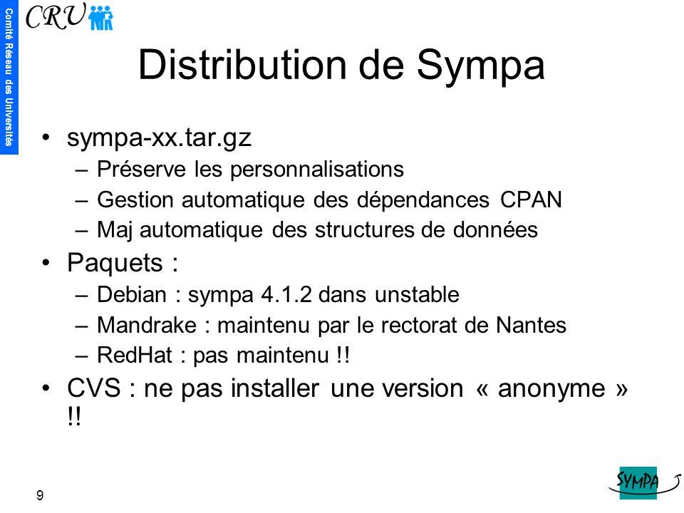 Comité Réseau des Universités 9 Distribution de Sympa sympa-xx.tar.gz –Préserve les personnalisations –Gestion automatique des dépendances CPAN –Maj a