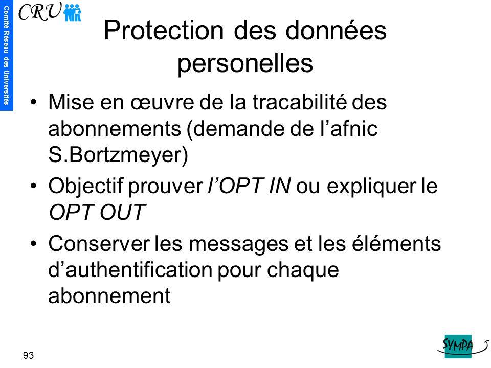 Comité Réseau des Universités 93 Protection des données personelles Mise en œuvre de la tracabilité des abonnements (demande de l'afnic S.Bortzmeyer)