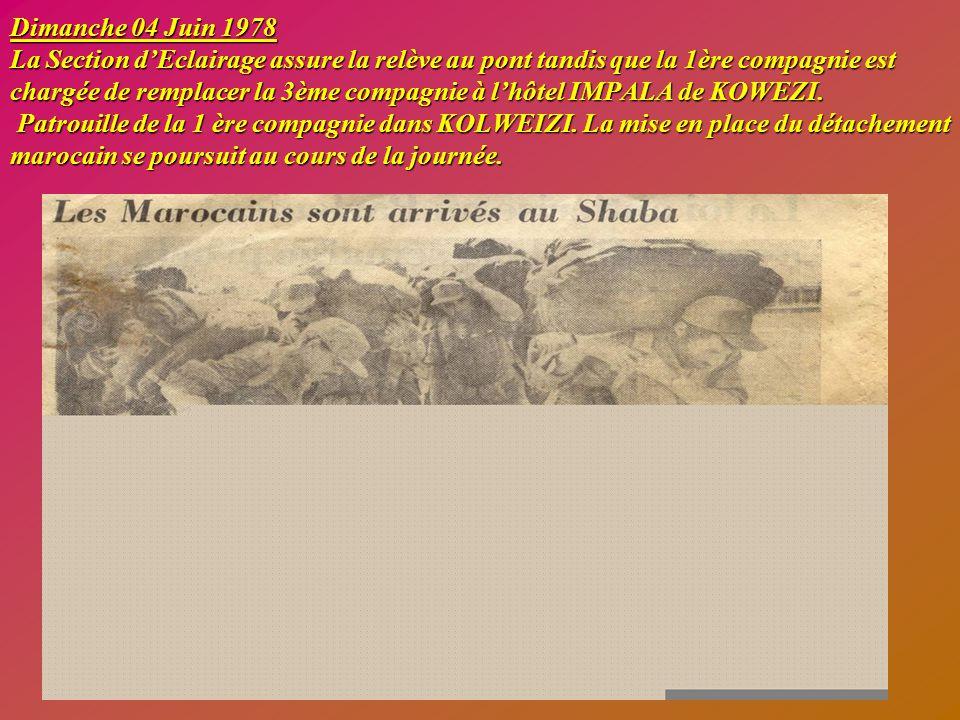 Mardi 30 Mai 1978 Arrivée à LUBUMBASHI du Général LIRON, Commandant la 2ème Brigade Parachutiste. La 2ème compagnie est chargée de rendre les honneurs