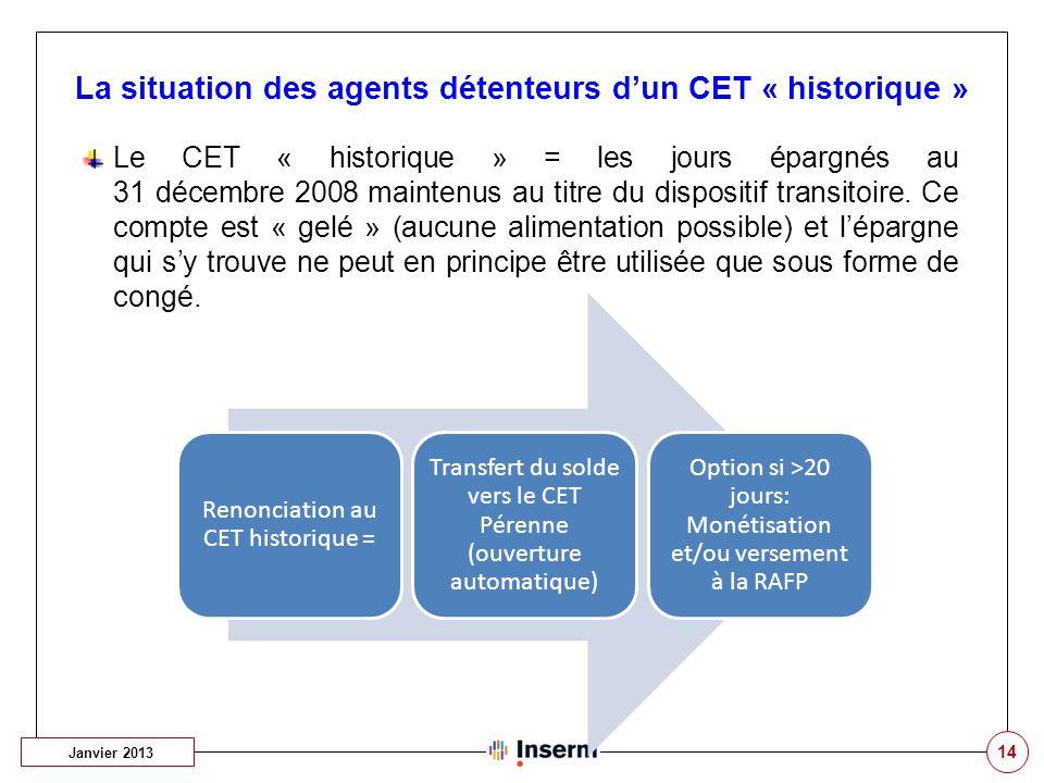 14 La situation des agents détenteurs d'un CET « historique » Janvier 2013 Le CET « historique » = les jours épargnés au 31 décembre 2008 maintenus au