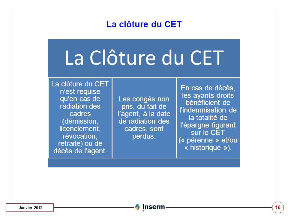 16 La clôture du CET Janvier 2013 La Clôture du CET La clôture du CET n'est requise qu'en cas de radiation des cadres (démission, licenciement, révoca