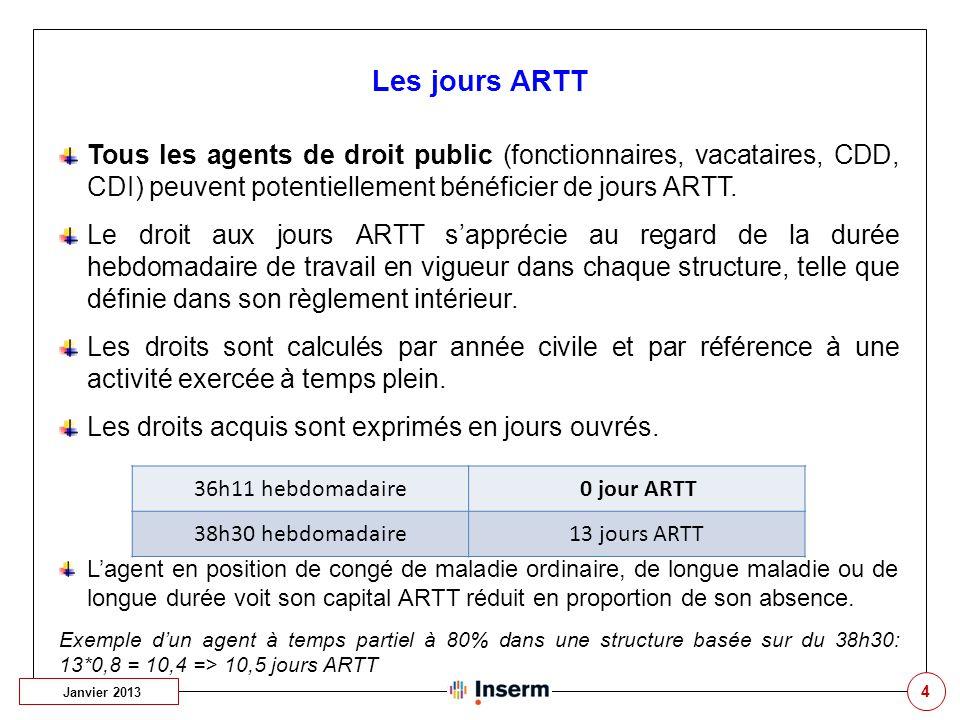 4 Les jours ARTT Janvier 2013 Tous les agents de droit public (fonctionnaires, vacataires, CDD, CDI) peuvent potentiellement bénéficier de jours ARTT.