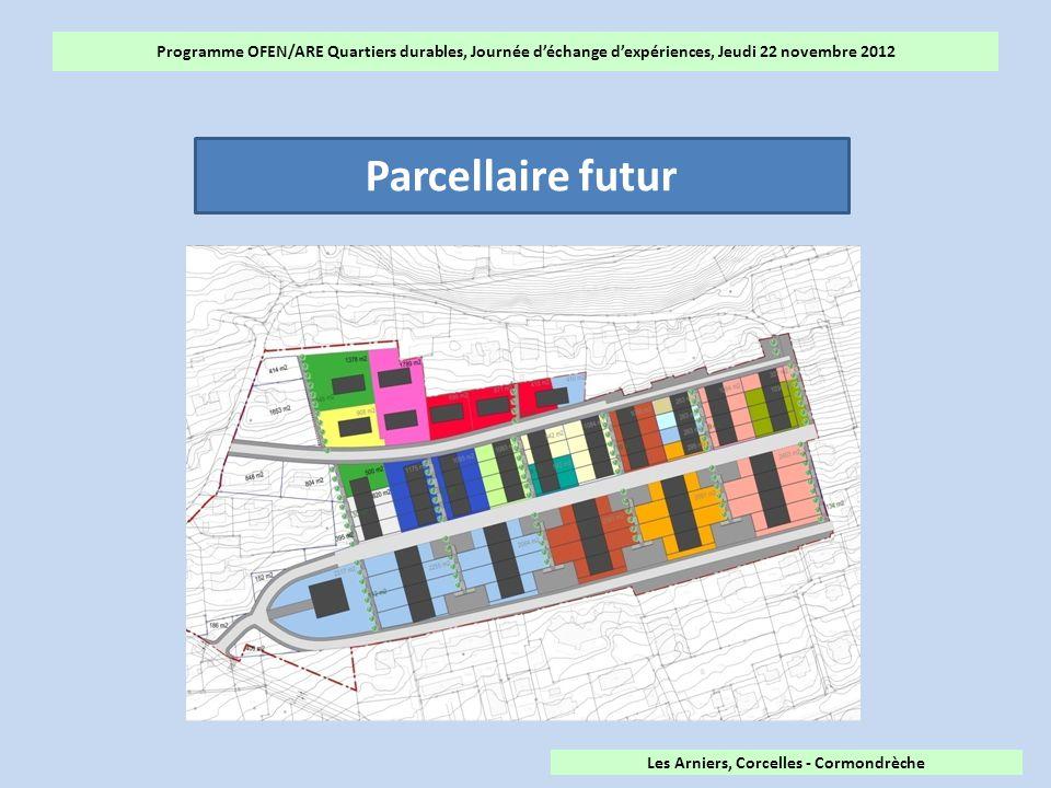 Programme OFEN/ARE Quartiers durables, Journée d'échange d'expériences, Jeudi 22 novembre 2012 Parcellaire futur Les Arniers, Corcelles - Cormondrèche