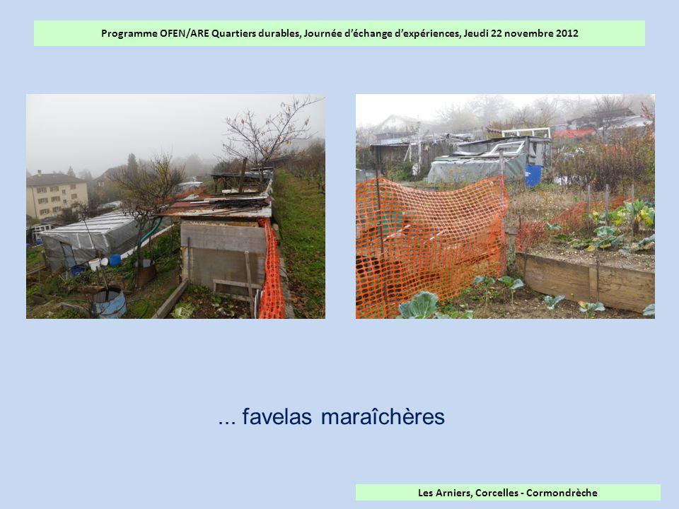 Programme OFEN/ARE Quartiers durables, Journée d'échange d'expériences, Jeudi 22 novembre 2012 Les Arniers, Corcelles - Cormondrèche...