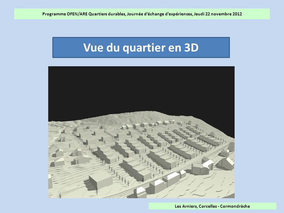 Programme OFEN/ARE Quartiers durables, Journée d'échange d'expériences, Jeudi 22 novembre 2012 Vue du quartier en 3D Les Arniers, Corcelles - Cormondrèche