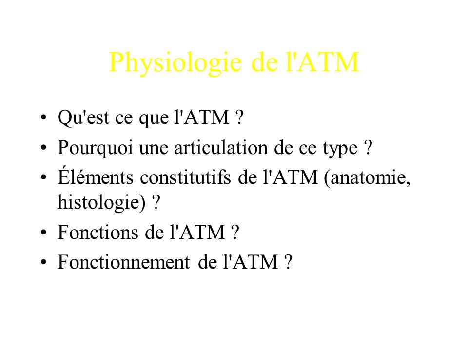 Physiologie de l'ATM Qu'est ce que l'ATM ? Pourquoi une articulation de ce type ? Éléments constitutifs de l'ATM (anatomie, histologie) ? Fonctions de