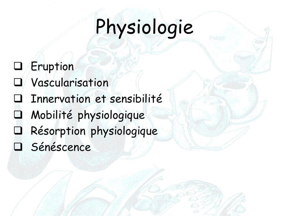 Physiologie  Eruption  Vascularisation  Innervation et sensibilité  Mobilité physiologique  Résorption physiologique  Sénéscence