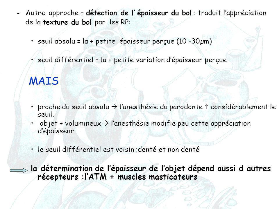 -Autre approche = détection de l' épaisseur du bol : traduit l'appréciation de la texture du bol par les RP: seuil absolu = la + petite épaisseur perç