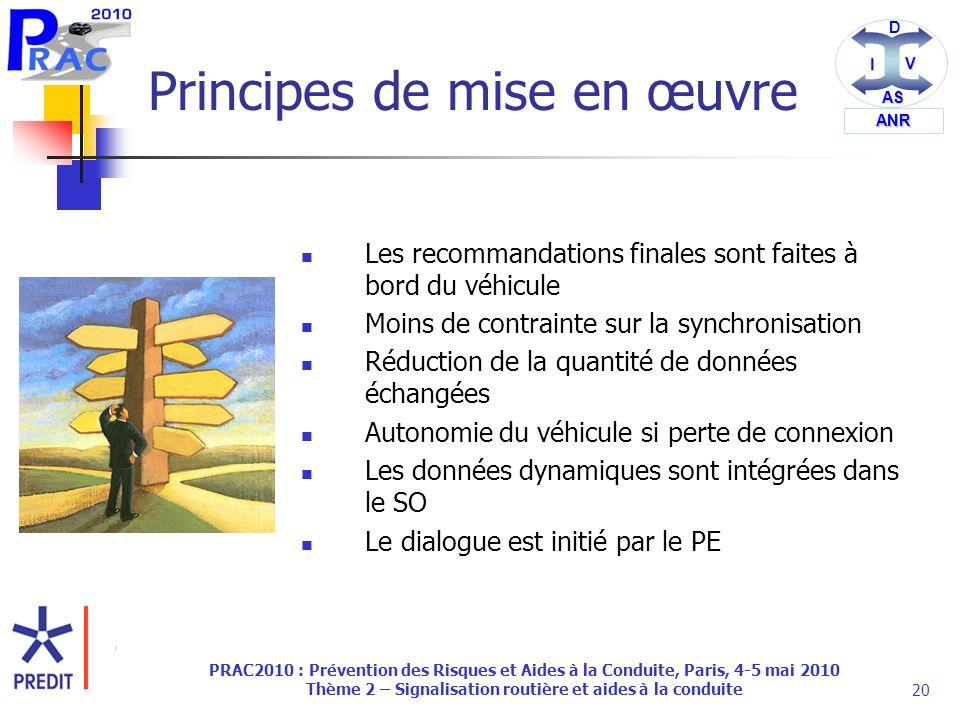 DI V AS ANR PRAC2010 : Prévention des Risques et Aides à la Conduite, Paris, 4-5 mai 2010 Thème 2 – Signalisation routière et aides à la conduite20 Principes de mise en œuvre Les recommandations finales sont faites à bord du véhicule Moins de contrainte sur la synchronisation Réduction de la quantité de données échangées Autonomie du véhicule si perte de connexion Les données dynamiques sont intégrées dans le SO Le dialogue est initié par le PE