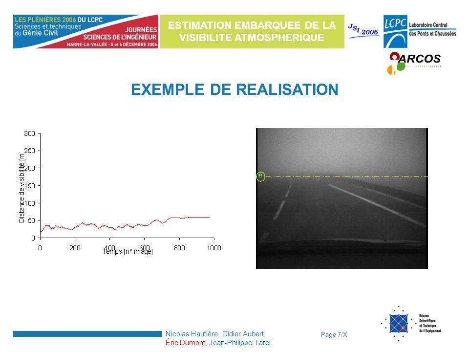 Page 7/X ESTIMATION EMBARQUEE DE LA VISIBILITE ATMOSPHERIQUE Nicolas Hautière, Didier Aubert, Éric Dumont, Jean-Philippe Tarel Exemple de résultats EX