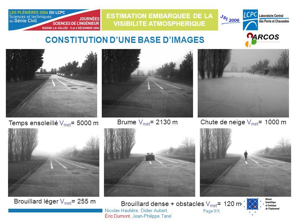 Page 9/X ESTIMATION EMBARQUEE DE LA VISIBILITE ATMOSPHERIQUE Nicolas Hautière, Didier Aubert, Éric Dumont, Jean-Philippe Tarel Temps ensoleillé V met