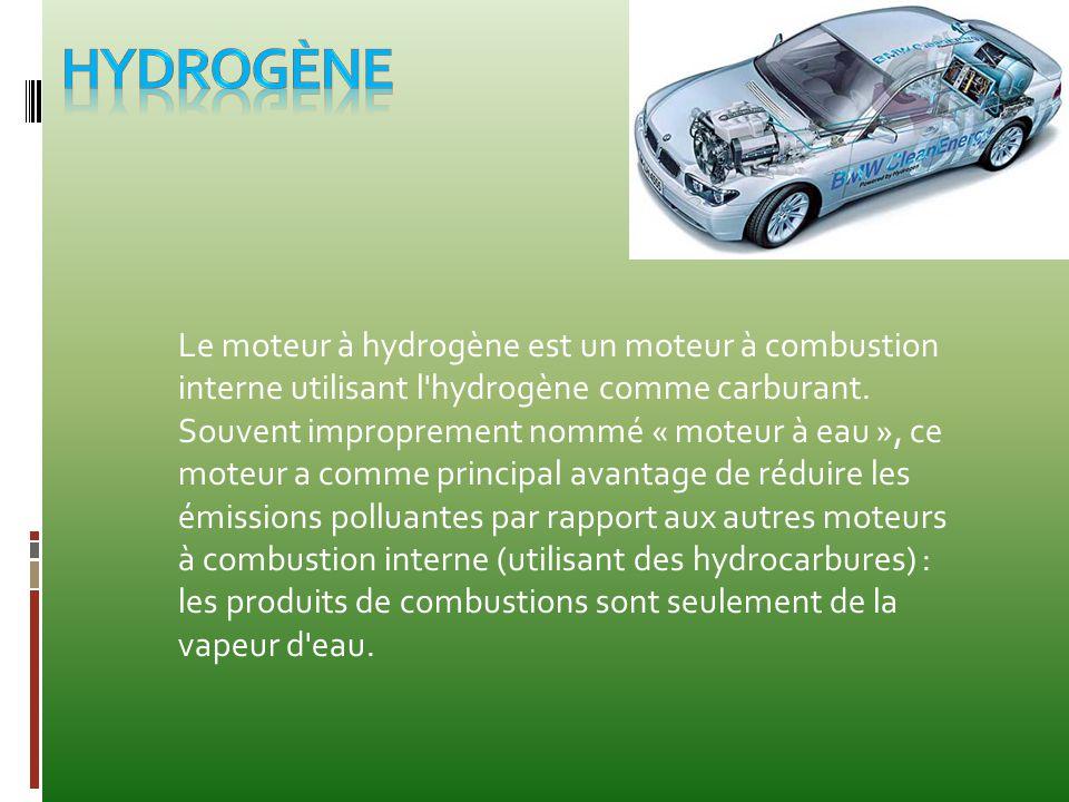 Le moteur à hydrogène est un moteur à combustion interne utilisant l'hydrogène comme carburant. Souvent improprement nommé « moteur à eau », ce moteur