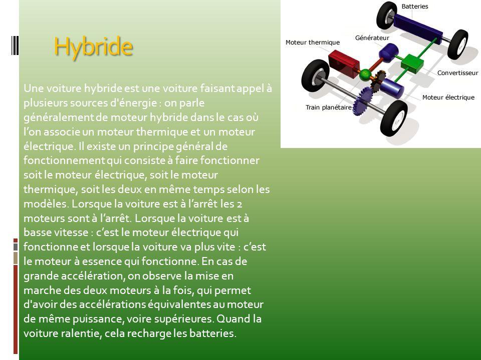 Hybride Une voiture hybride est une voiture faisant appel à plusieurs sources d'énergie : on parle généralement de moteur hybride dans le cas où l'on