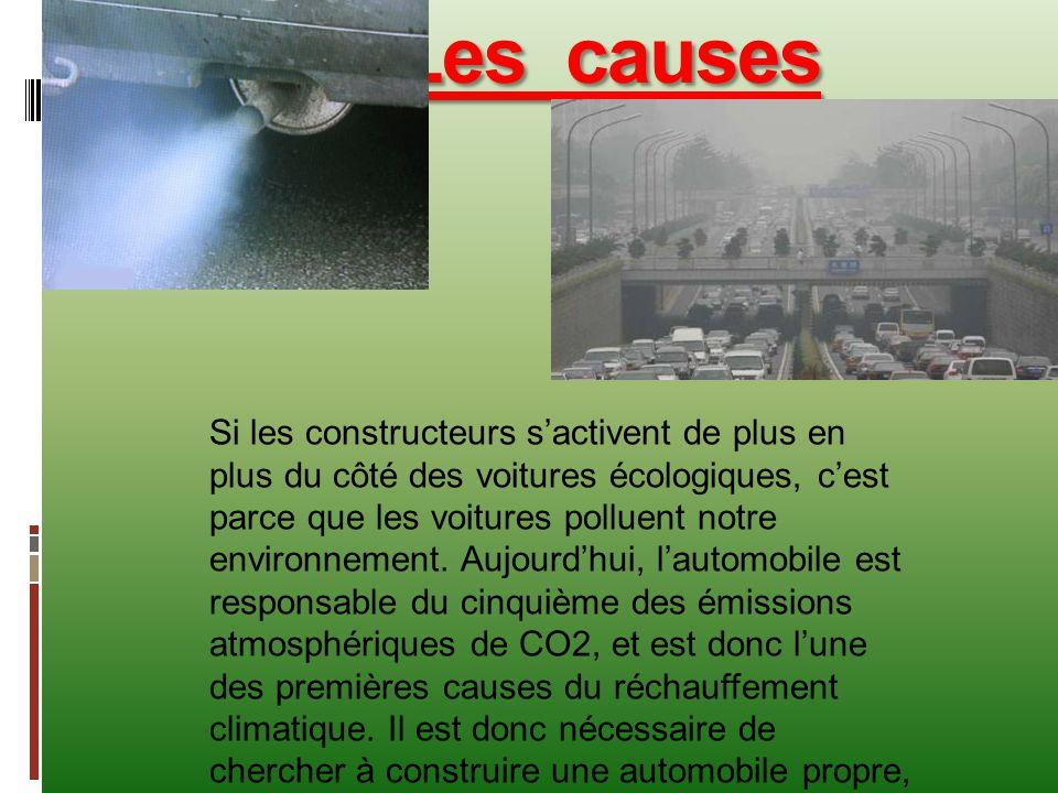 Les causes Si les constructeurs s'activent de plus en plus du côté des voitures écologiques, c'est parce que les voitures polluent notre environnement