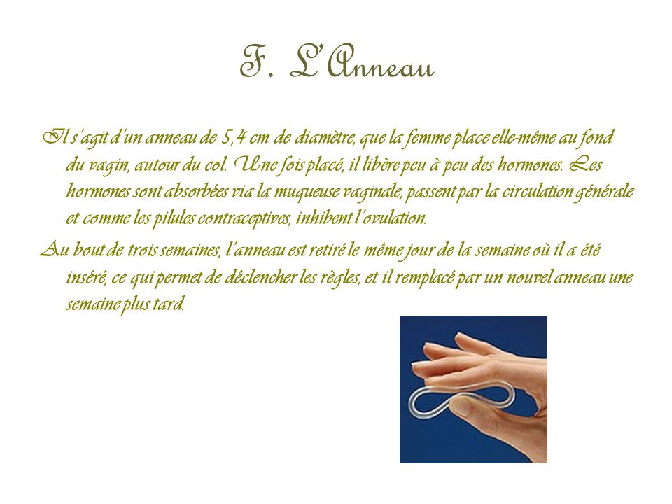 F. L'Anneau Il s'agit d'un anneau de 5,4 cm de diamètre, que la femme place elle-même au fond du vagin, autour du col. Une fois placé, il libère peu à