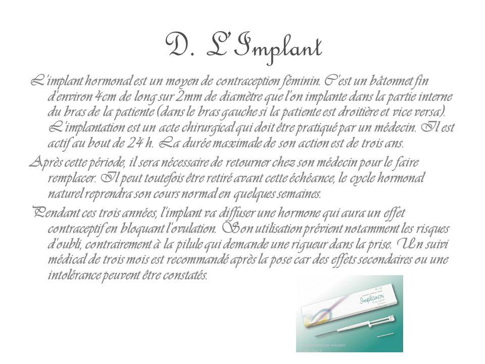 D. L'Implant L'implant hormonal est un moyen de contraception féminin. C'est un bâtonnet fin d'environ 4cm de long sur 2mm de diamètre que l'on implan