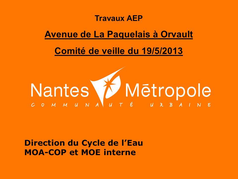 Direction du Cycle de l'Eau MOA-COP et MOE interne Travaux AEP Avenue de La Paquelais à Orvault Comité de veille du 19/5/2013