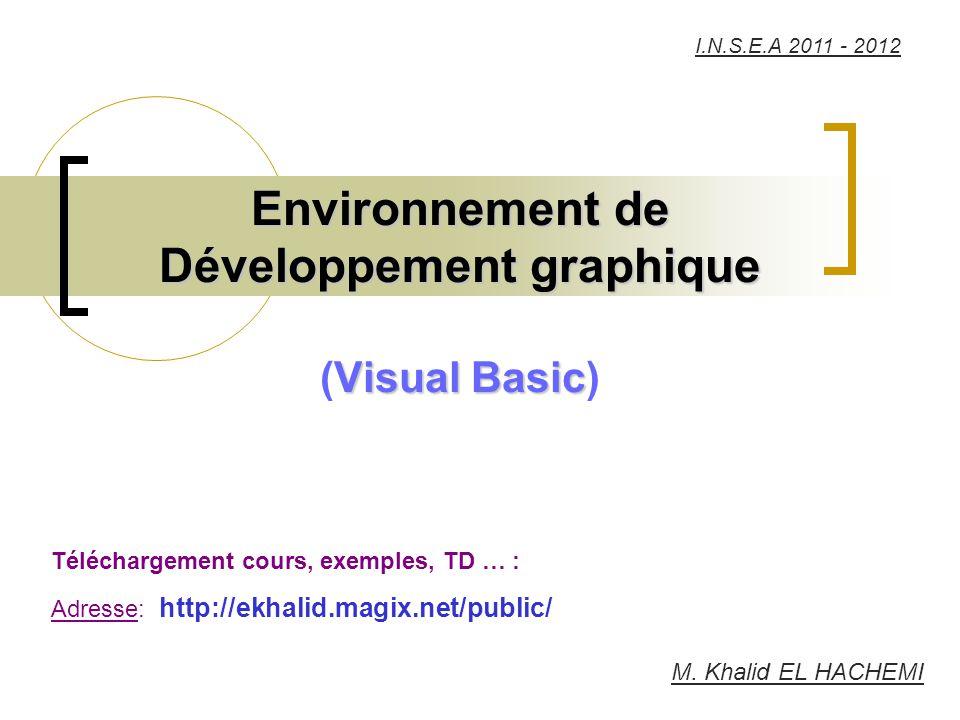 M. Khalid EL HACHEMI Téléchargement cours, exemples, TD … : Adresse: http://ekhalid.magix.net/public/ I.N.S.E.A 2011 - 2012
