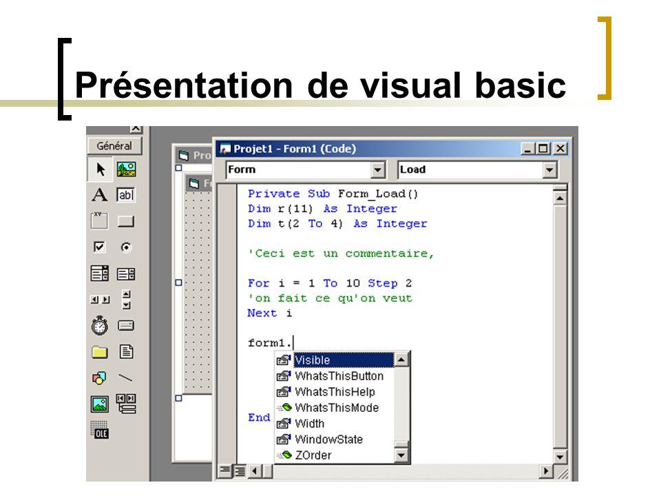 Présentation de visual basic