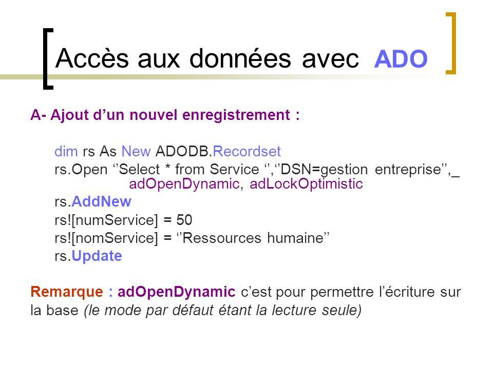 A- Ajout d'un nouvel enregistrement : dim rs As New ADODB.Recordset rs.Open ''Select * from Service '',''DSN=gestion entreprise'',_ adOpenDynamic, adL