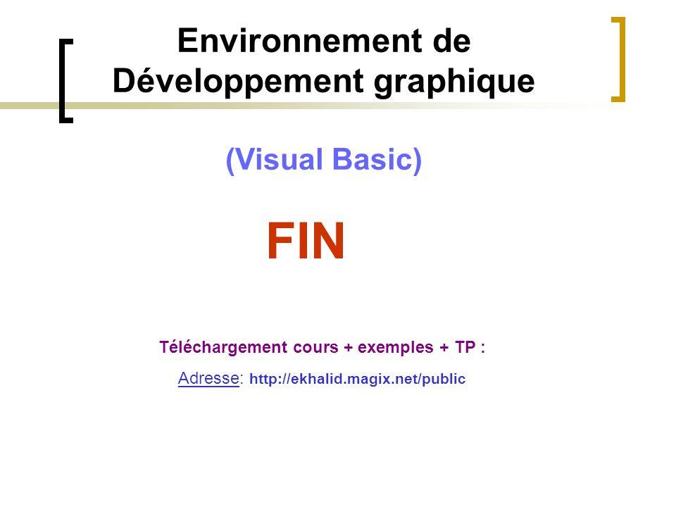 FIN Téléchargement cours + exemples + TP : Adresse: http://ekhalid.magix.net/public Environnement de Développement graphique (Visual Basic)