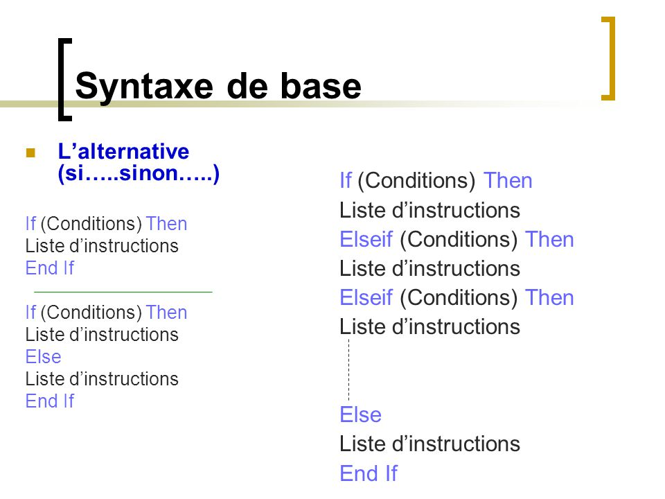 Syntaxe de base L'alternative (si…..sinon…..) If (Conditions) Then Liste d'instructions End If If (Conditions) Then Liste d'instructions Else Liste d'