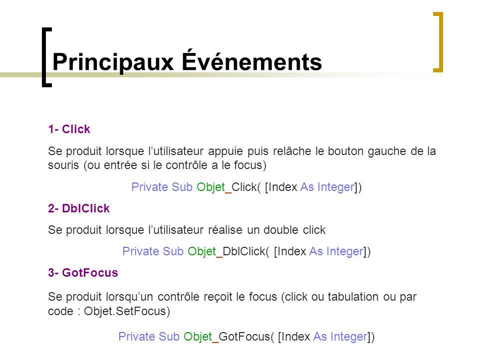 Principaux Événements 1- Click Se produit lorsque l'utilisateur appuie puis relâche le bouton gauche de la souris (ou entrée si le contrôle a le focus