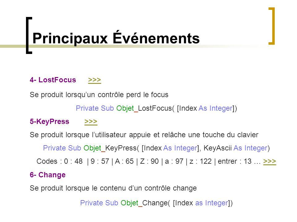 Principaux Événements 4- LostFocus >>>>>> Se produit lorsqu'un contrôle perd le focus Private Sub Objet_LostFocus( [Index As Integer]) 5-KeyPress >>>>