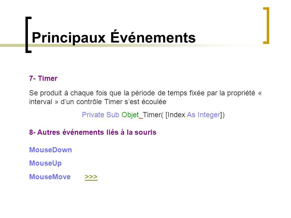 Principaux Événements 7- Timer Se produit à chaque fois que la période de temps fixée par la propriété « interval » d'un contrôle Timer s'est écoulée