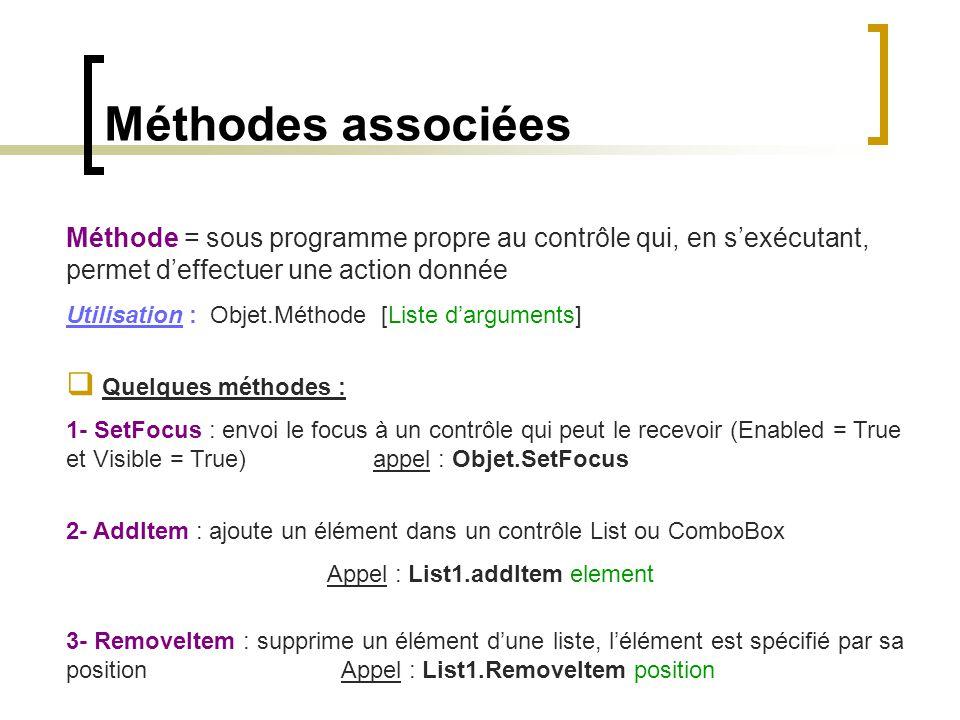 Méthodes associées Méthode = sous programme propre au contrôle qui, en s'exécutant, permet d'effectuer une action donnée Utilisation : Objet.Méthode [