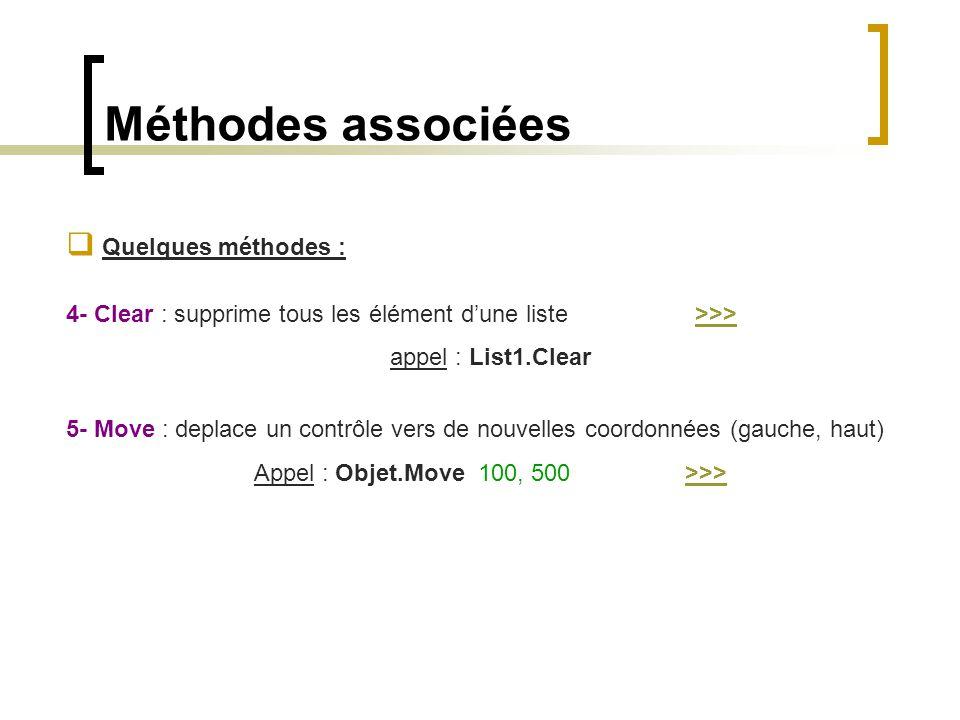 Méthodes associées  Quelques méthodes : 4- Clear : supprime tous les élément d'une liste >>>>>> appel : List1.Clear 5- Move : deplace un contrôle ver