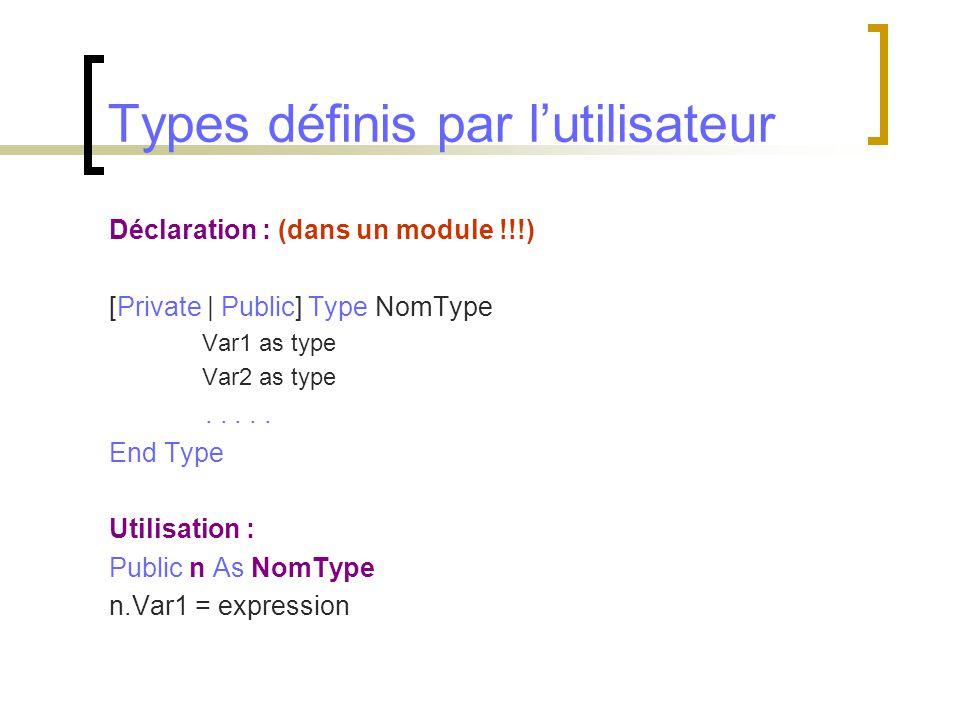 Types définis par l'utilisateur Déclaration : (dans un module !!!) [Private | Public] Type NomType Var1 as type Var2 as type..... End Type Utilisation