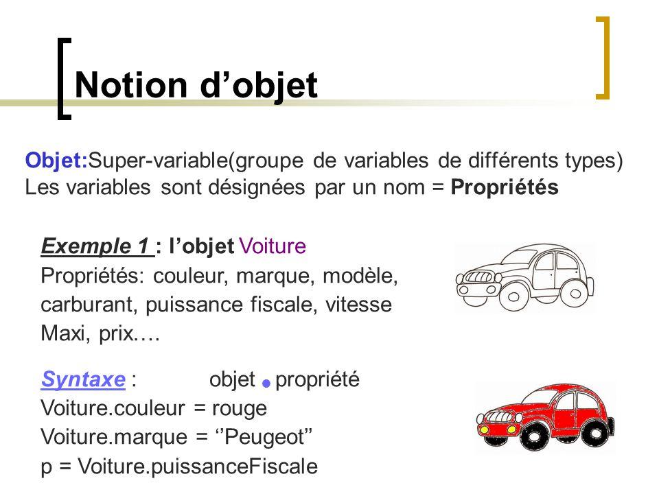 Notion d'objet Objet:Super-variable(groupe de variables de différents types) Les variables sont désignées par un nom = Propriétés Exemple 1 : l'objet