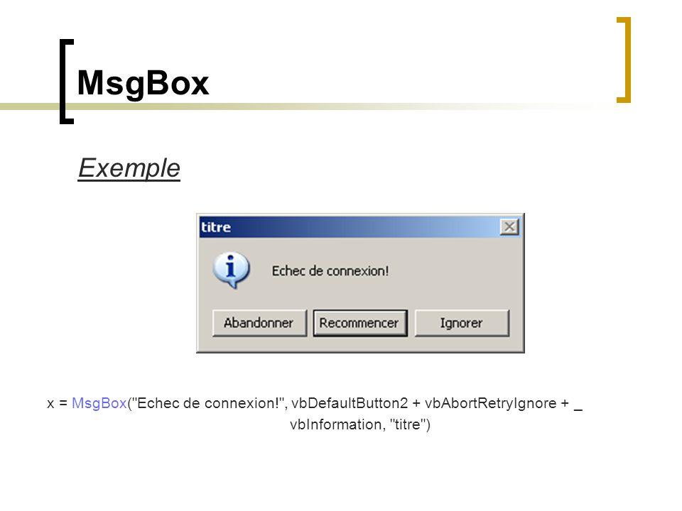 Exemple x = MsgBox(