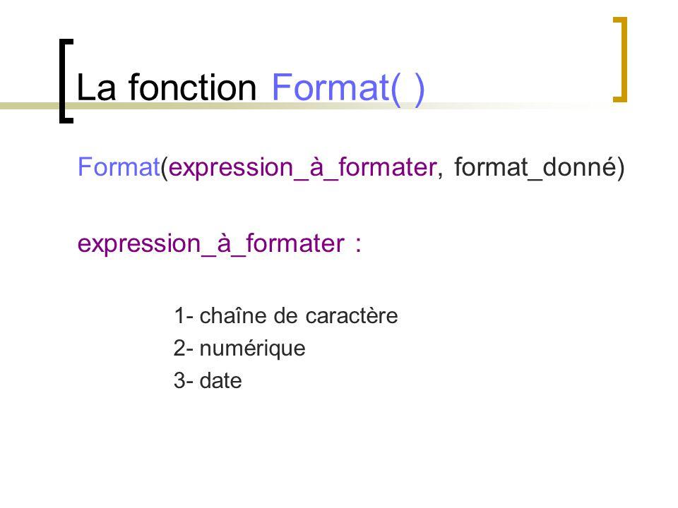 La fonction Format( ) Format(expression_à_formater, format_donné) expression_à_formater : 1- chaîne de caractère 2- numérique 3- date