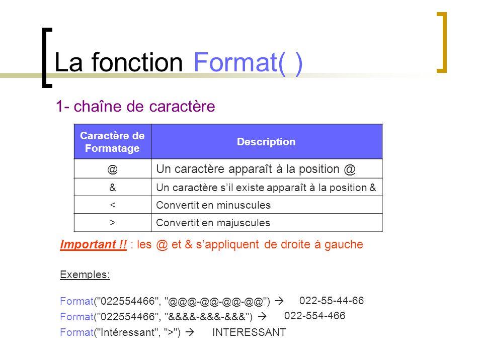 La fonction Format( ) 1- chaîne de caractère Caractère de Formatage Description @ Un caractère apparaît à la position @ &Un caractère s'il existe appa