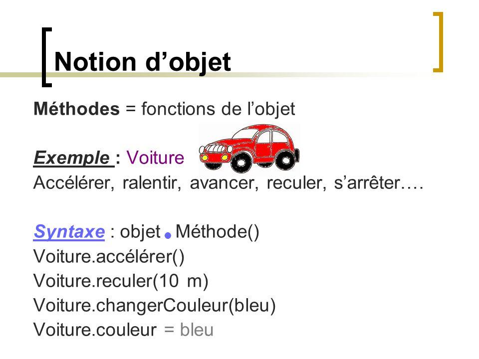 Notion d'objet Méthodes = fonctions de l'objet Exemple : Voiture Accélérer, ralentir, avancer, reculer, s'arrêter…. Syntaxe : objet Méthode() Voiture.