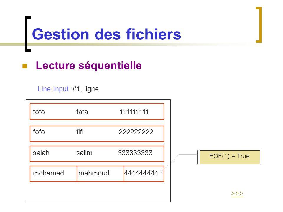 Gestion des fichiers Lecture séquentielle Line Input #1, ligne toto tata 111111111 fofo fifi 222222222 salah salim 333333333 mohamed mahmoud 444444444
