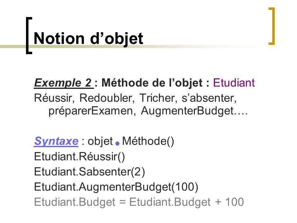 Notion d'objet Exemple 2 : Méthode de l'objet : Etudiant Réussir, Redoubler, Tricher, s'absenter, préparerExamen, AugmenterBudget…. Syntaxe : objet Mé