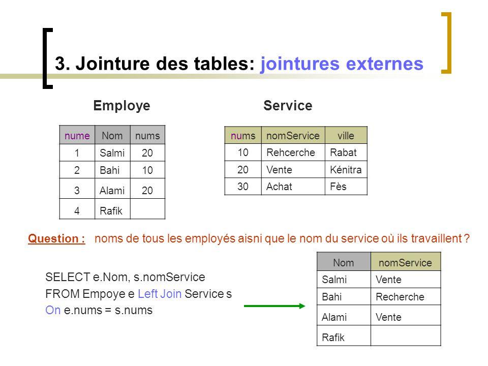 3. Jointure des tables: jointures externes Employe Service numeNomnums 1Salmi20 2Bahi10 3Alami20 4Rafik numsnomServiceville 10RehcercheRabat 20VenteKé