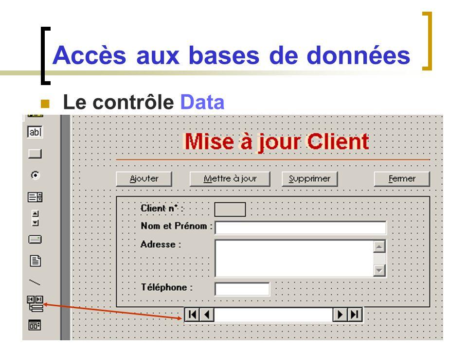 Le contrôle Data Accès aux bases de données
