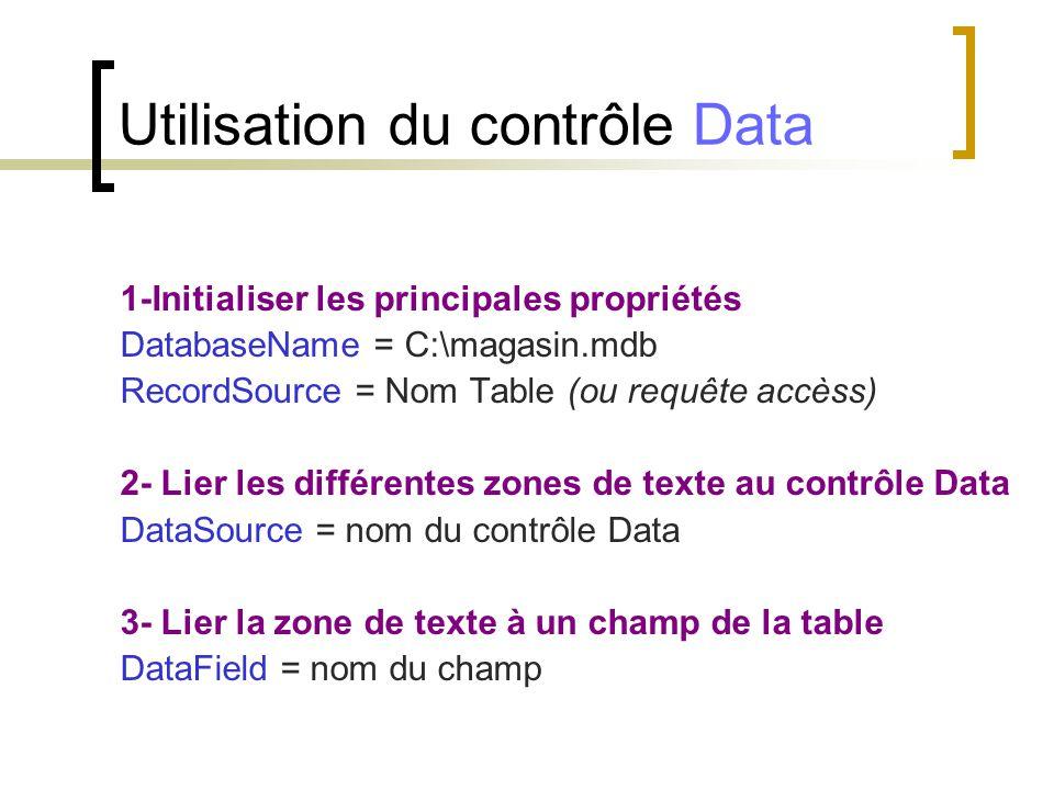 1-Initialiser les principales propriétés DatabaseName = C:\magasin.mdb RecordSource = Nom Table (ou requête accèss) 2- Lier les différentes zones de t