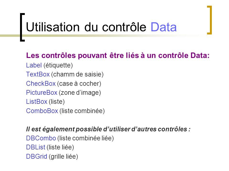 Les contrôles pouvant être liés à un contrôle Data: Label (étiquette) TextBox (chamm de saisie) CheckBox (case à cocher) PictureBox (zone d'image) Lis