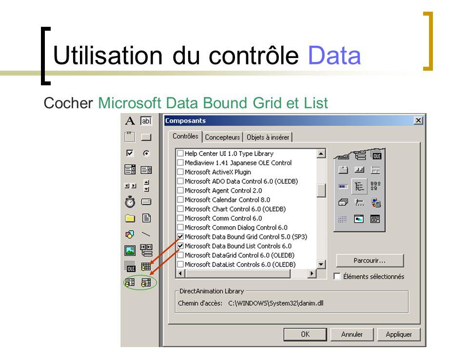 Cocher Microsoft Data Bound Grid et List Utilisation du contrôle Data