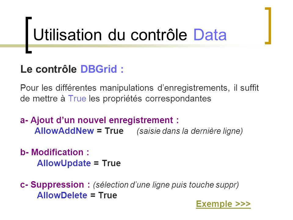 Le contrôle DBGrid : Pour les différentes manipulations d'enregistrements, il suffit de mettre à True les propriétés correspondantes a- Ajout d'un nou