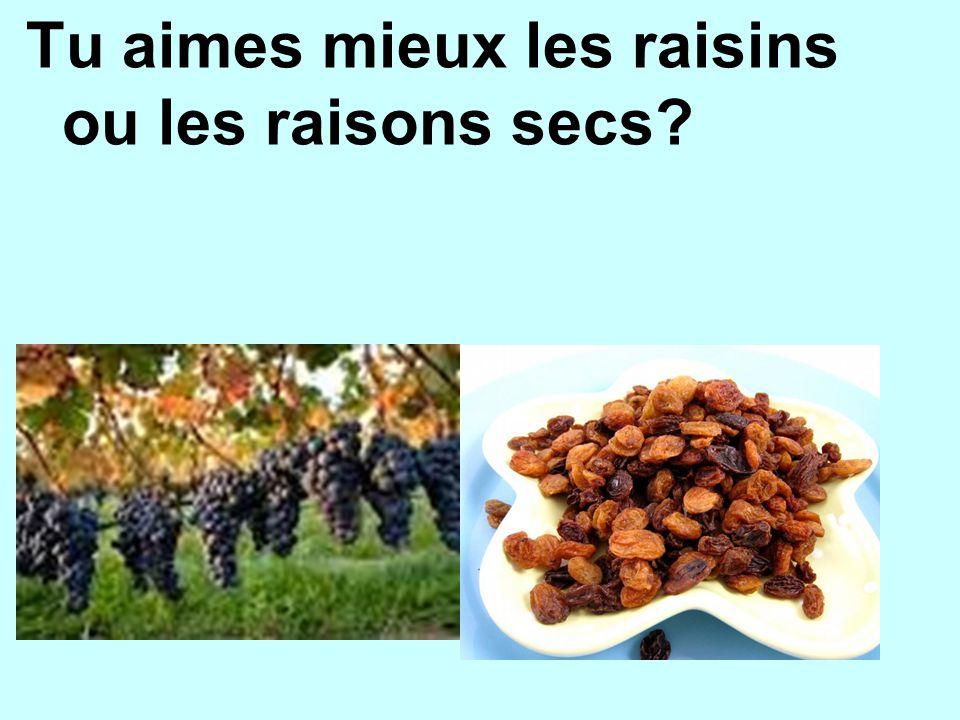 Tu aimes mieux les raisins ou les raisons secs