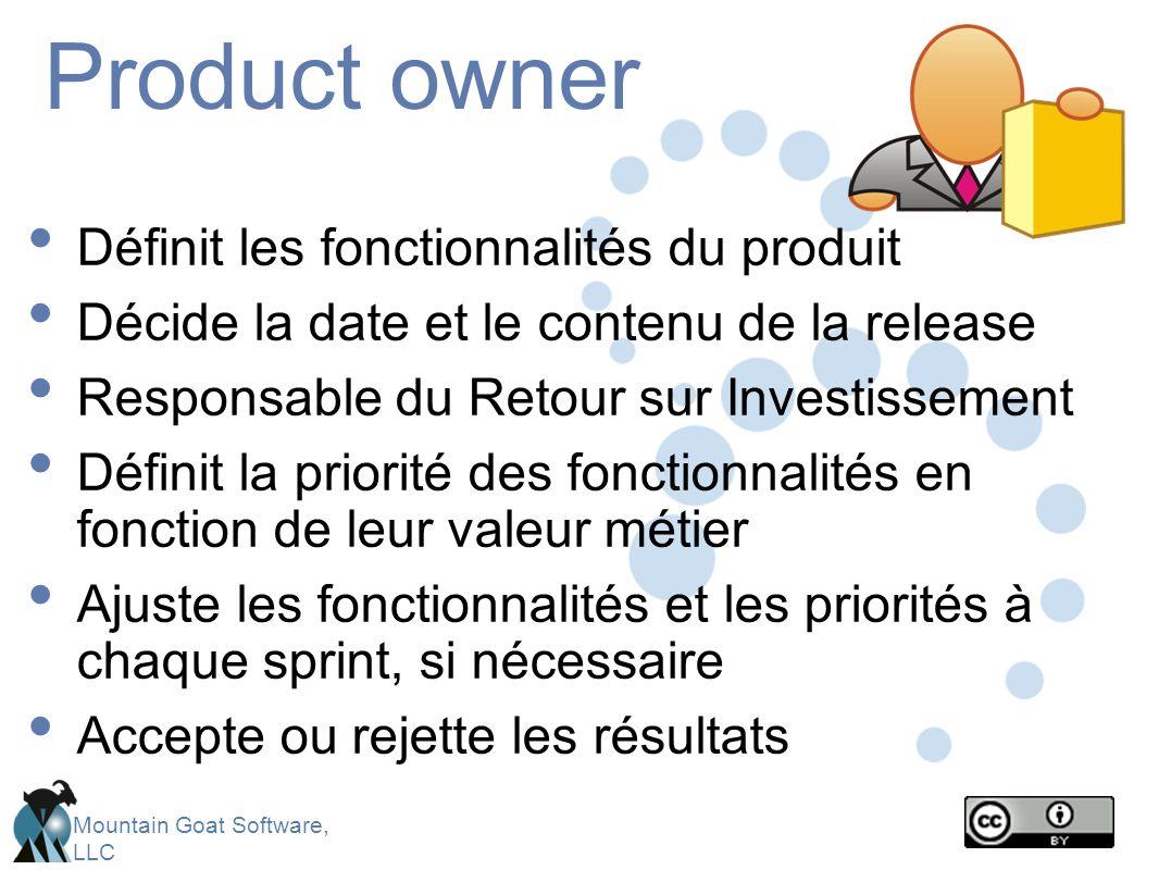 Mountain Goat Software, LLC Product owner Définit les fonctionnalités du produit Décide la date et le contenu de la release Responsable du Retour sur Investissement Définit la priorité des fonctionnalités en fonction de leur valeur métier Ajuste les fonctionnalités et les priorités à chaque sprint, si nécessaire Accepte ou rejette les résultats