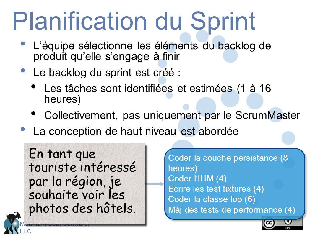 Mountain Goat Software, LLC Planification du Sprint L'équipe sélectionne les éléments du backlog de produit qu'elle s'engage à finir Le backlog du sprint est créé : Les tâches sont identifiées et estimées (1 à 16 heures) Collectivement, pas uniquement par le ScrumMaster La conception de haut niveau est abordée En tant que touriste intéressé par la région, je souhaite voir les photos des hôtels.